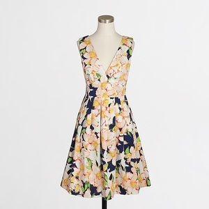 J. Crew Sateen V-neck dress in floral